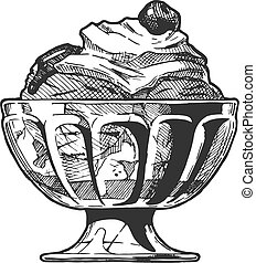 Vector hand drawn illustration of Ice Cream served in glass bowl. In vintage engraved style. Isolated on white background.