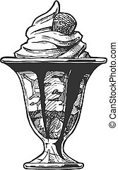 Ice Cream served in glass bowl.