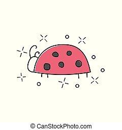 Vector hand drawn illustration of ladybug isolated on white background