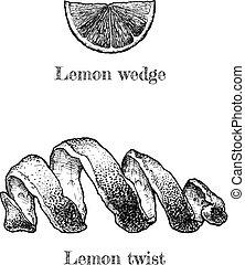 Lemon twist and wedge - Vector hand drawn illustration of ...