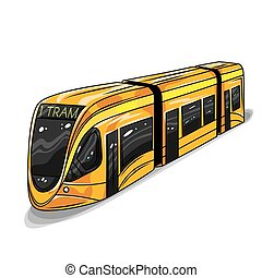 Vector hand drawn illustration of modern tram car. Illustration for print, web.