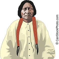 Vector hand drawn illustration of native american indian man.