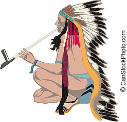 Vector hand drawn illustration of native american indian man. Graphic portrait of tribal warrior with painted face and feathers.