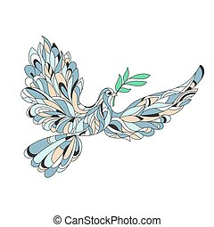 Vector hand drawn illustration of peace dove with olive branch. High details isolated on white background.