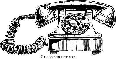 rotary dial telephone of 1940s - Vector hand drawn...