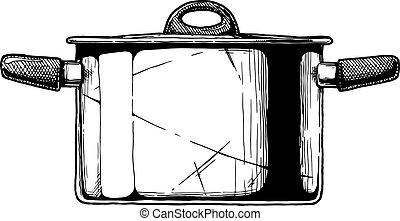 illustration of Stock pot - Vector hand drawn illustration...