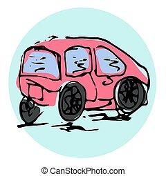 Vector Hand Drawn Illustration. Red car. Paris Theme. Sketch.