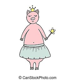 Vector hand-drawn illustration with a pig fairy in a crown and a magic wand.