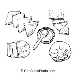 Vector hand drawn illustration with cheeses .