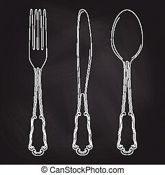 Vector hand drawn illustration with cutlery set. Sketch. Vintage illustration. Chalkboard background