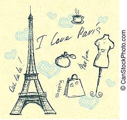 Vector hand drawn illustration with Paris symbols.