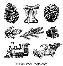 Vector hand drawn illustrations of Christmas toys and Nativity symbols. New Year images for greeting card, poster etc
