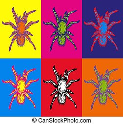 Vector hand drawn ink illustration of few multicolored spiders