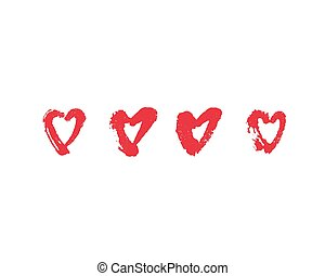 Vector hand drawn ink illustration with hearts.