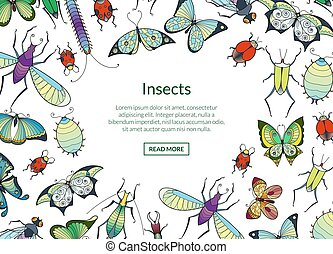 Vector hand drawn insects background with place for text illustration