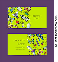 Vector hand drawn insects business card isolated