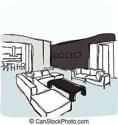 vector hand-drawn interior