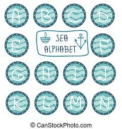 Vector hand drawn isolated sea alph