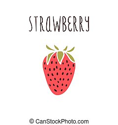 Vector hand drawn isolated strawberry with the inscription
