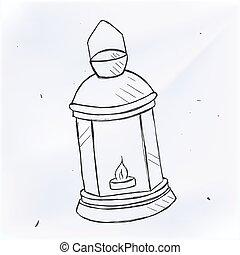 Vector hand drawn kerosene lamp. Doodle style - Vector hand...
