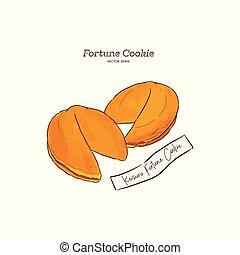 vector, hand-drawn, koekjes, fortuin, illustratie