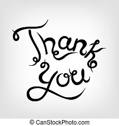 Vector Hand-drawn Lettering. Thank you.
