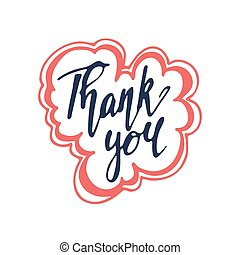 Vector hand drawn lettering Thank you isolated on white