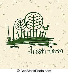 Vector hand drawn logo fresh farm. Lettering logo...