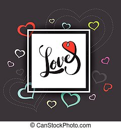 vector hand drawn love lettering with heart