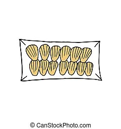 Vector hand drawn madeleine. French cuisine dessert. Design sketch element for menu cafe, bistro, restaurant, bakery, label and packaging. Colorful illustration on a white background.