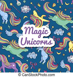 Vector hand drawn magic unicorns and stars background with place for text illustration