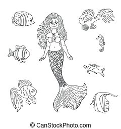 Vector hand drawn mermaid and fish isolated on the white