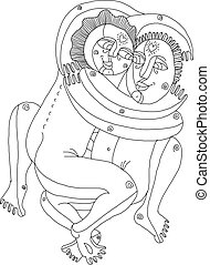 Vector hand drawn monochrome illustration of heterosexual couple making love. Man embraces woman art image, relationship and love theme.