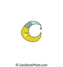 Vector hand drawn moon