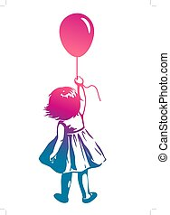 Vector hand drawn multicolor rainbow silhouette illustration of a toddler girl standing with pink red balloon in hand, back view. Urban street art style graffiti stencil art design element.