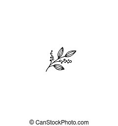 Vector hand drawn object, a sprig of pepper. Kitchen logo...