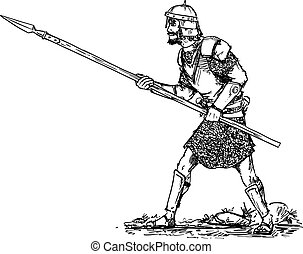 Vector Hand Drawn of Fantasy or Ancient Warrior in Armor and Helmet and With Spear Walking Ready to Attack