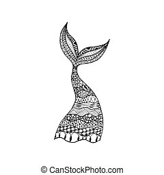 Vector hand drawn ornamental mermaid tail, whale tail....