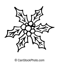 Vector holly berry. monochrome color. long shadow. single ...