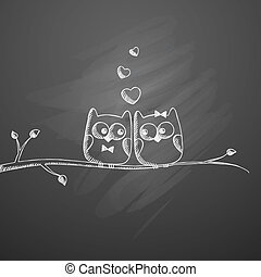 vector hand drawn owls on black chalkboard