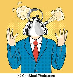Vector hand drawn pop art illustration of businessman with the kettle instead of