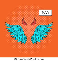 Vector hand drawn pop art illustration of devil wings and devil horns at the top. Retro style. Hand drawn sign. Illustration for print, web.