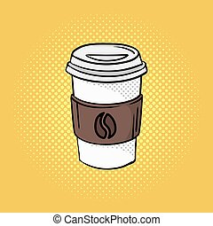 Vector hand drawn pop art illustration of coffee on the go.