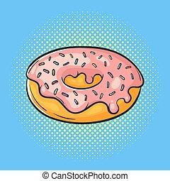 Vector hand drawn pop art illustration of donut. Fast food.