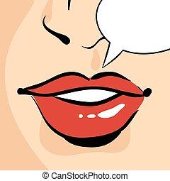 Vector hand drawn pop art illustration of beautiful red woman lips. Empty speech bubble. Retro style. Illustration for print, web.