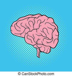 Vector hand drawn pop art illustration of brain. Retro style