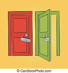 Vector hand drawn pop art illustration of doors. Open and closed door