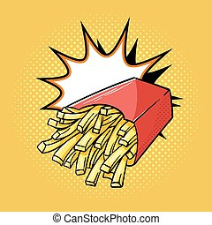Vector hand drawn pop art illustration of french fries.