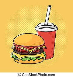 Vector hand drawn pop art illustration of hamburger and soda cup.