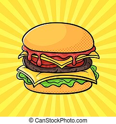 Vector hand drawn pop art illustration of hamburger.